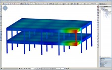 Displacement of a reinforced concrete structure during progressive collapse analysis.